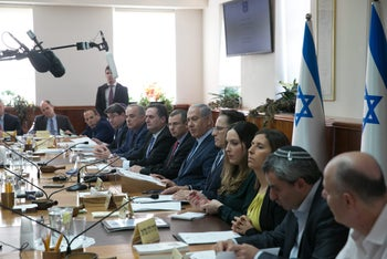 Prime Minister Netanyahu sits for a meeting with various government ministers in Jerusalem on January 7, 2017.