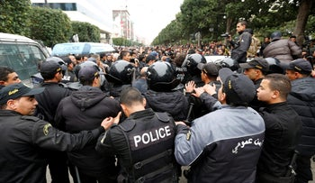 Tunisian protesters clash with riot police during demonstrations against rising prices and tax increases, in Tunis, Tunisia January 9, 2018.