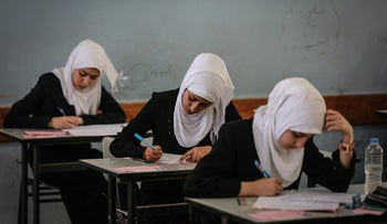 GAZA CITY, GAZA - MAY 30 :  Palestinian students are seen during the Tawjihi Exam (University Entrance Exam)  at Bashir Rais school in Gaza City on May 30, 2015. The exam takes place simultaneously in all of the Palestinian cities. Ali Hasan / Anadolu Agency