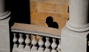 File Photo: Israeli Prime Minister Benjamin Netanyahu silhouetted against a facade at the Argentine foreign ministry in Buenos Aires, Argentina on September 12, 2017