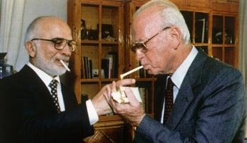 King Hussein of Jordan and Israeli Prime Minister Yitzhak Rabin