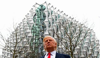 A Madame Tussauds wax figure of US President Donald Trump stands outside the new US Embassy in Embassy Gardens in south-west London on January 12, 2018.