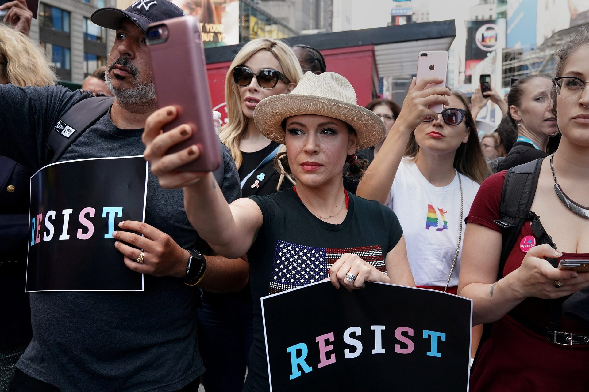 Actress Alyssa Milano attends a protest in Times Square, New York City, New York, U.S., July 26, 2017.