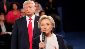 Hillary Clinton and Donald Trump during a presidential debate prior to the elections in which the latter won.