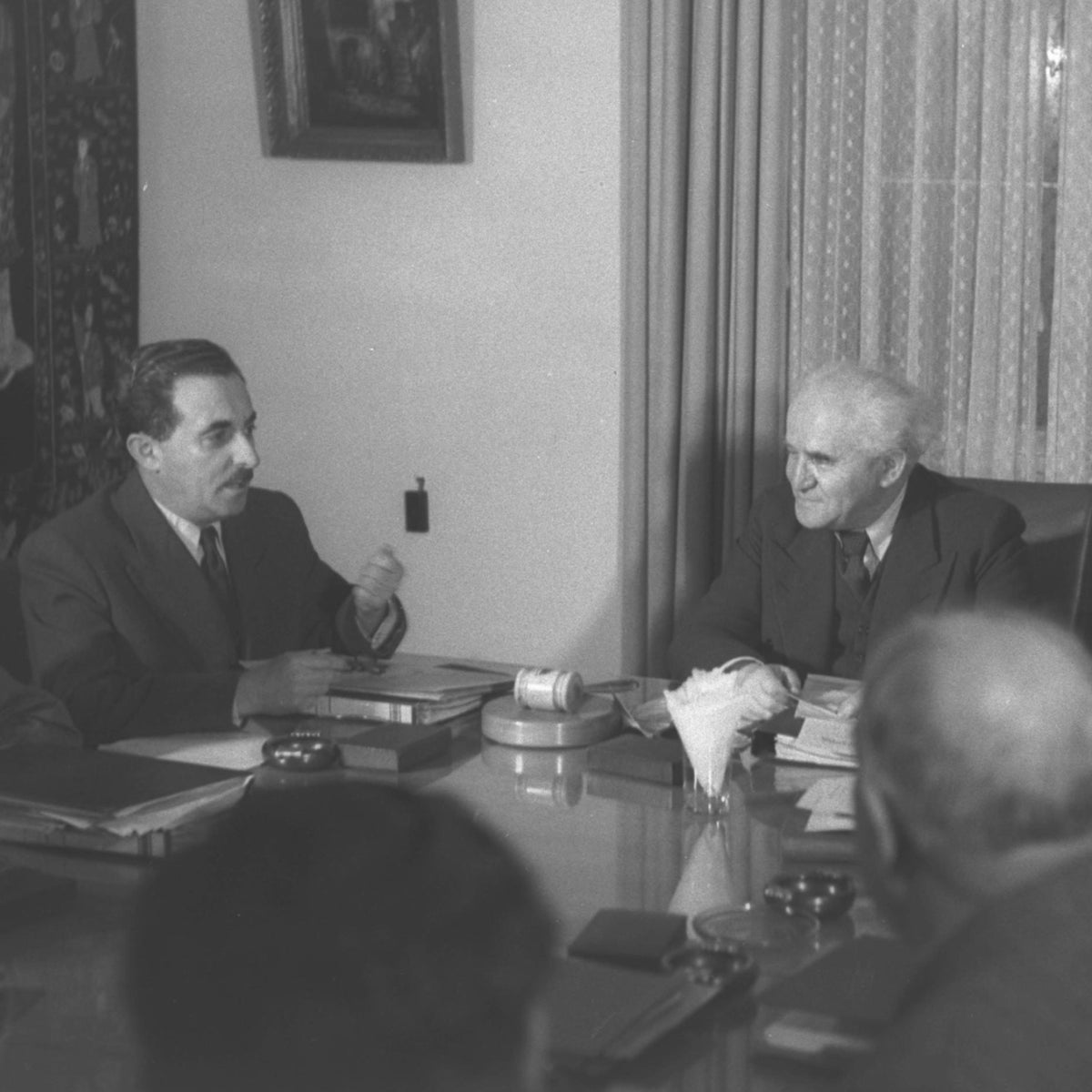 David Ben-Gurion and Moshe Sharett at a meeting of Israel's interim government in 1949.