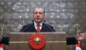 Turkish President Recep Tayyip Erdogan speaks in Ankara on Thursday, January 11, 2018.