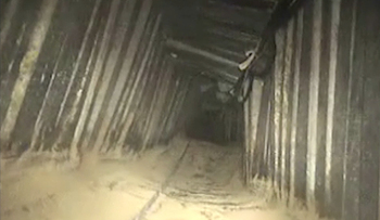 An image of the tunnel released by the Israeli army on January 14, 2018.