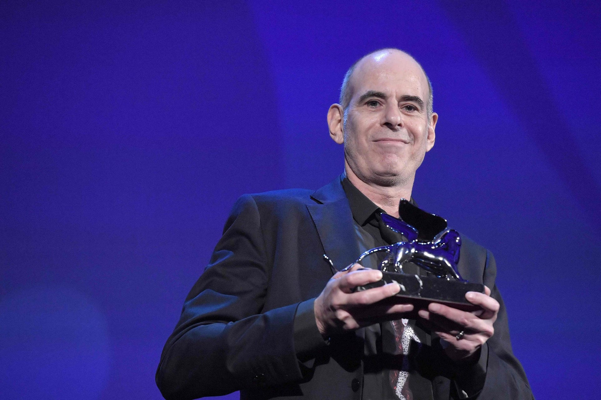 """Samuel Maoz receiving the Silver Lion - Grand Jury Prize for """"Foxtrot"""" during the award ceremony of the 74th Venice Film Festival, September 9, 2017."""