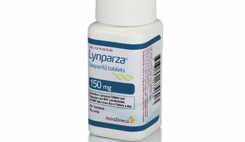 This photo provided by AstraZeneca shows a bottle of Lynparza. On Friday, Jan. 12, 2018, the Food and Drug Administration approved AstraZeneca PLC's Lynparza, the first drug aimed at women with advanced breast cancer caused by an inherited flawed gene