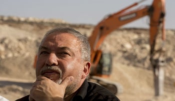 Defense Minister Avigdor Lieberman in the West Bank, October 2017.