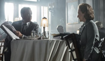 Tom Hanks portrays Ben Bradlee, left, and Meryl Streep portrays Katharine Graham in a scene from 'The Post.'