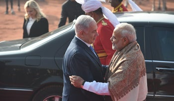 Israeli Prime Minister Benjamin Netanyahu shakes hands with his Indian counterpart Narendra Modi at his ceremonial reception in New Delhi, India, January 15, 2018.