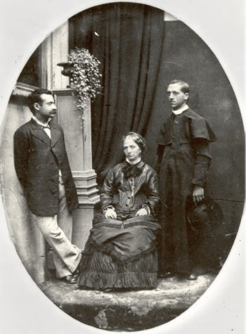 Father Edgardo Mortara (right) with his mother (center) and another man, perhaps a brother of Edgardo. Photograph taken between 1878-1890