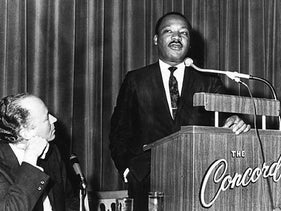 Rabbi Everett Gendler, left, listening to Martin Luther King Jr. at the Rabbinical Assembly convention at the Concord Hotel in the Catskills, March 25, 1968.
