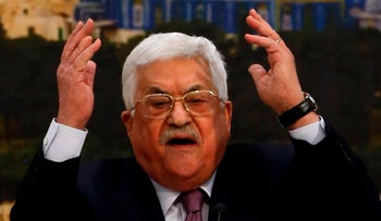 Abbas speaks during a meeting in the West Bank city of Ramallah, January 14, 2018.