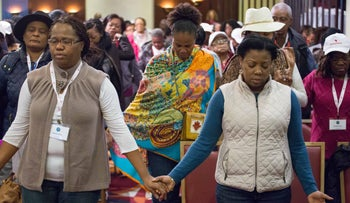 Congregants attending the service to mark Martin Luther King Day, in Jerusalem, January 15, 2018.