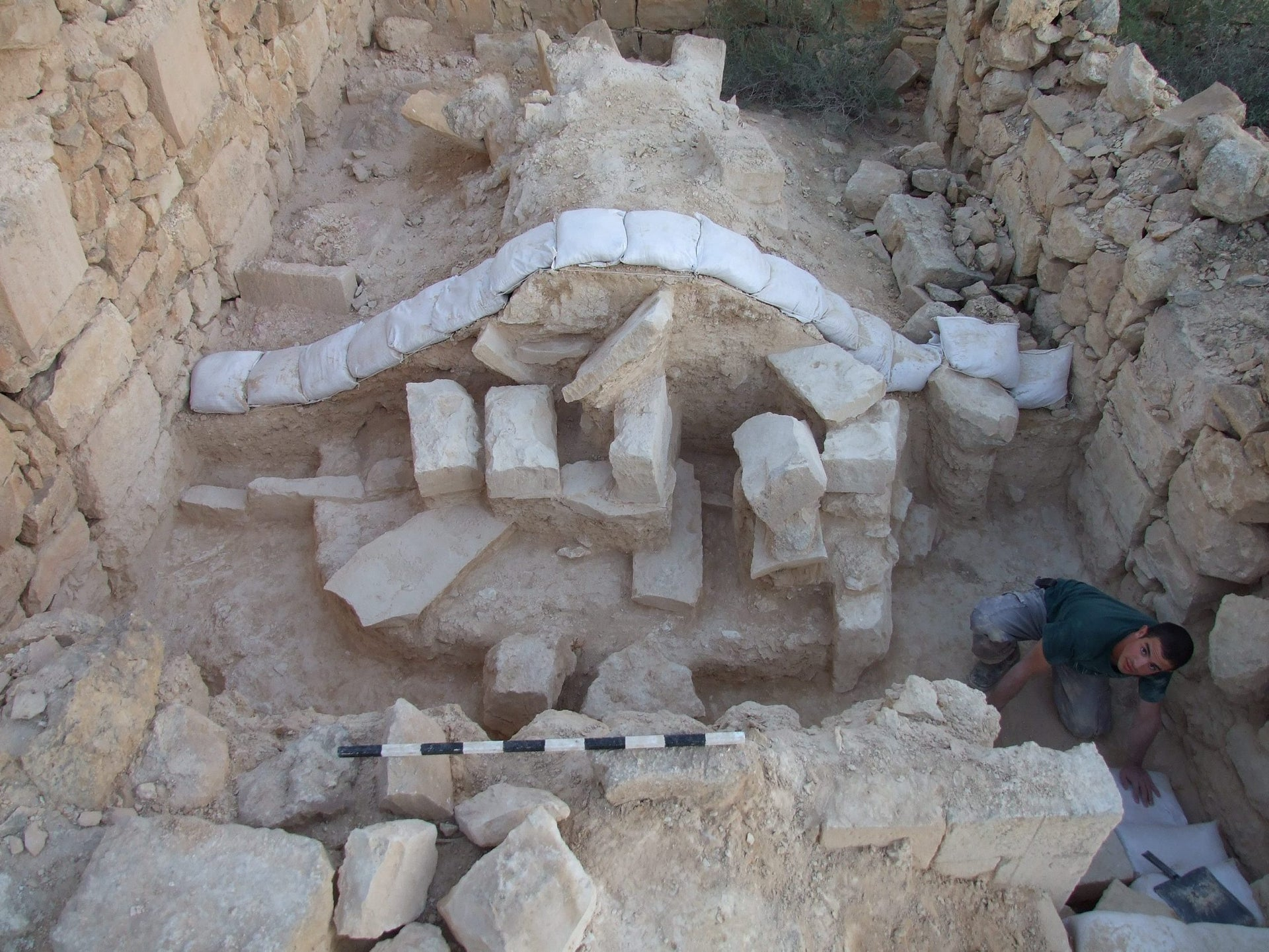 The ruins of a house in ancient Shivta that seems to have been destroyed by earthquake