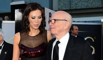 This file photo taken on February 24, 2013 shows Rupert Murdoch and former wife Wendi Deng Murdoch arriving on the red carpet for the 85th Annual Academy Awards in Hollywood, California.