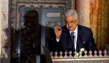 """Palestinian President Mahmoud Abbas, speaks during a conference on Jerusalem at the Al-Azhar Conference Center, in Cairo, Egypt, Wednesday, Jan. 17, 2018. Abbas blasted Trump again over Jerusalem, saying the U.S. leader's decision to recognize contested Jerusalem as Israel's capital was """"sinful."""" (AP Photo/Amr Nabil)"""