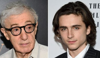 "This combination photo shows director Woody Allen at the premiere of ""Cafe Society in New York on, July 13, 2016, left, and Timothee Chalamet at the New York Film Critics Circle Awards on Jan. 3, 2018, in New York"