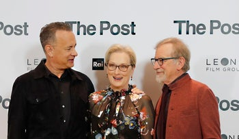 Actors Tom Hanks, from left, Meryl Streep and director Steven Spielberg pose for photographers during a photo call for the film 'The Post' in Milan, Italy, Jan.15, 2018