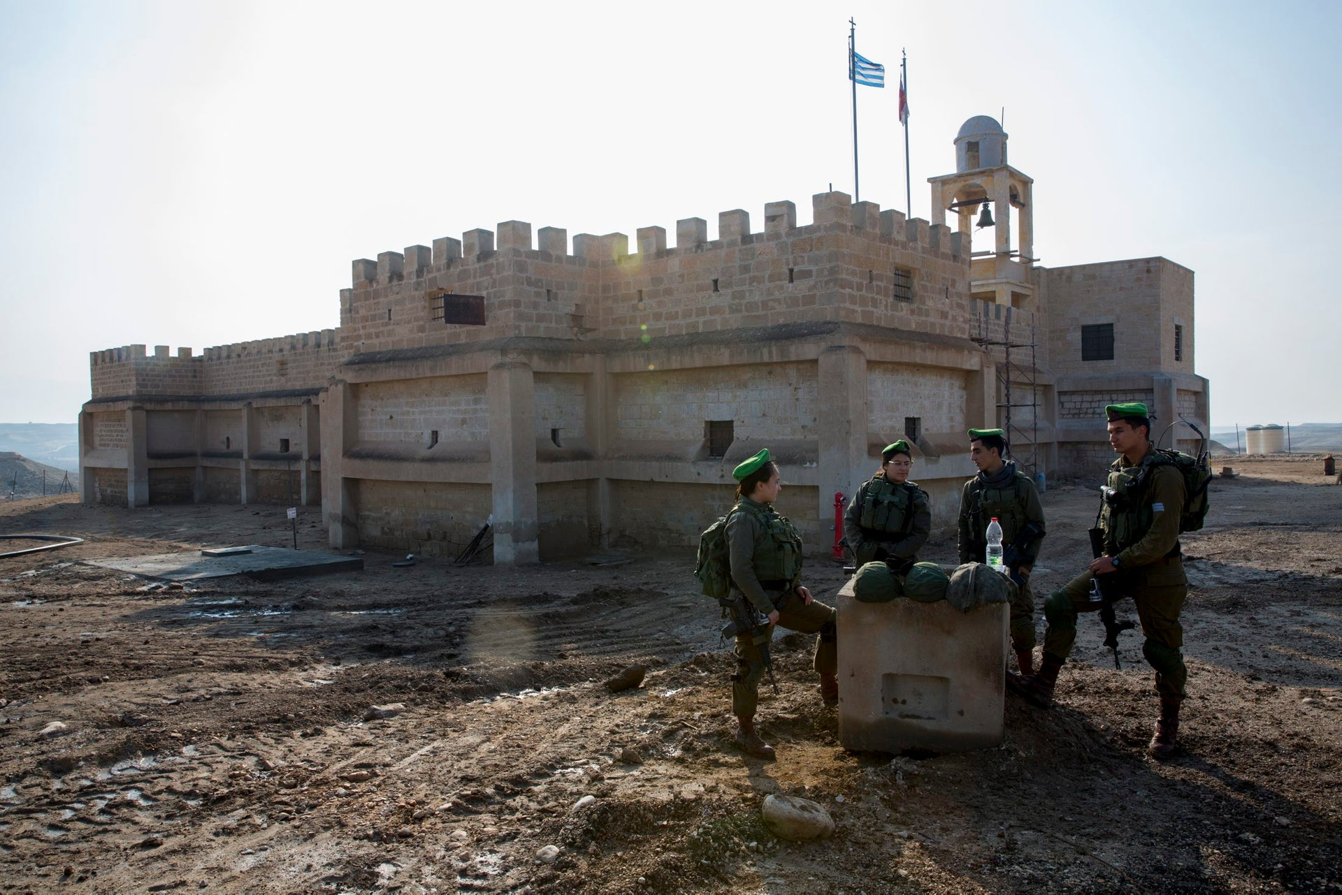 Soldiers at Qasr el-Yahud. A pilgrimage site and a minefield.