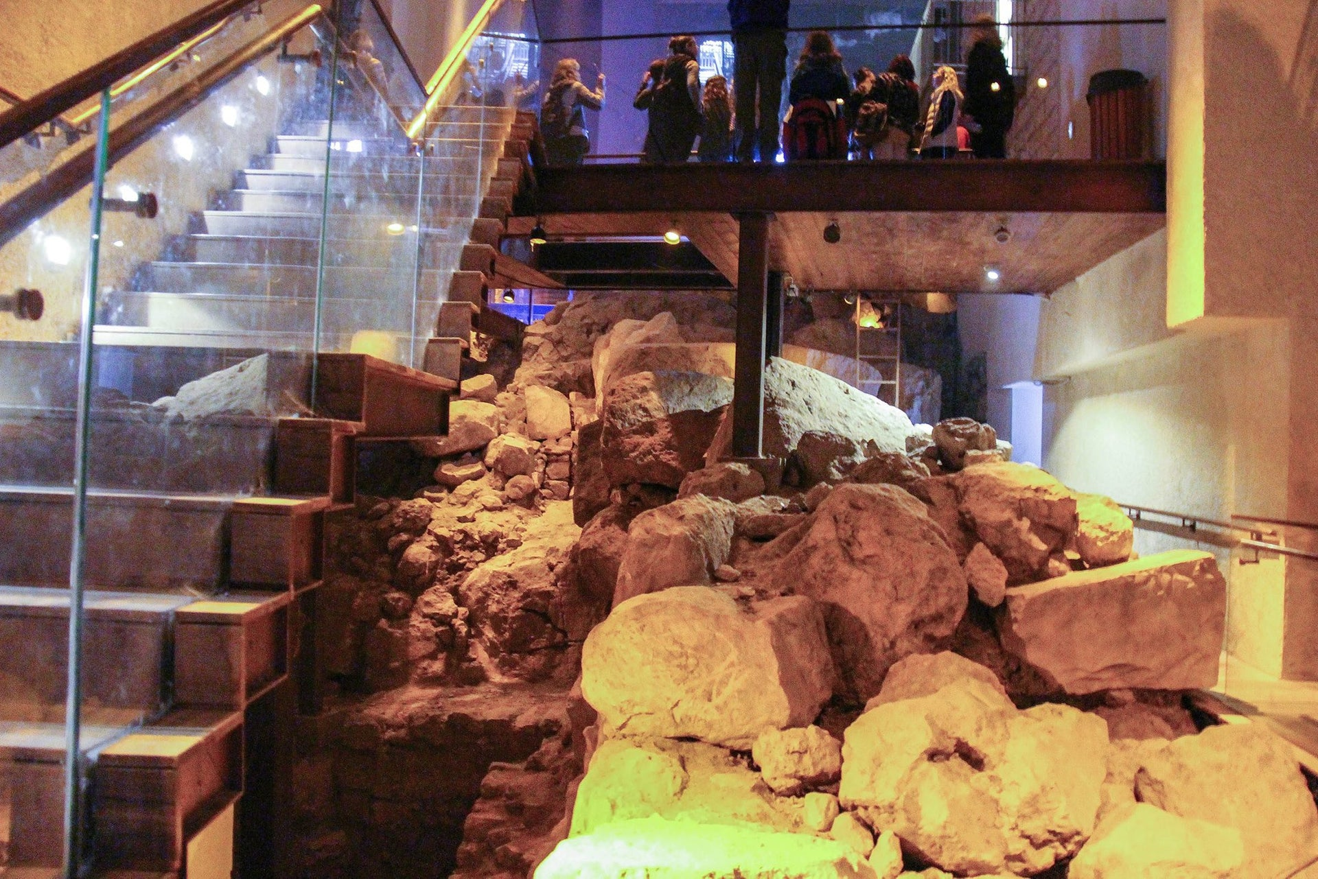 Remains of the Spring Tower in the City of David, Jerusalem. The massive fortification protected the Gihon spring, the city's main source of water, and its date has recently been moved from the Middle Bronze Age to the late ninth century B.C.E.