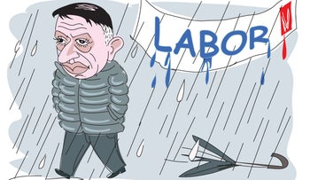 Illustration: Avi Gabbay looks sad as he walks in the rain.