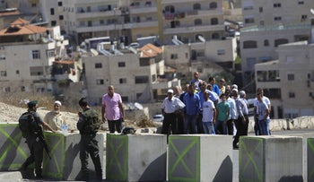 A checkpoint in Issawiya neighborhood in the old city of Jerusalem on October 16, 2015.
