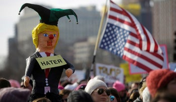 People take part in the Women's March in Chicago, Illinois, U.S. January 20, 2018