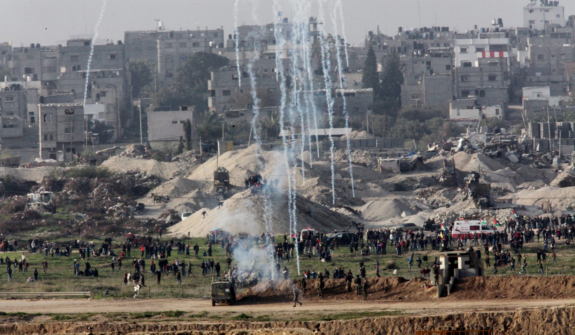 The view of Gaza, showing a confrontation between youngsters from Gaza and Israeli soldiers.