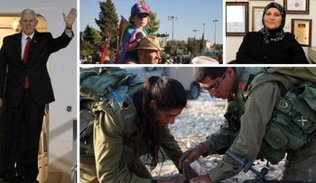 A composite image showing female soldiers, LGBT families and a sharia court judge: some of the people Mike Pence would meet on an imaginary alternative tour of Israel.