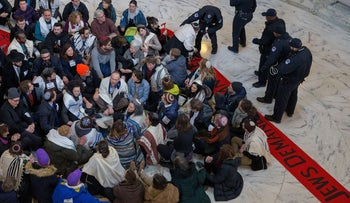Capitol Hill police arrest Jewish activists protesting for passage of a clean DACA bill on Capitol Hill on January 17, 2018 in Washington, DC