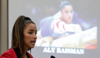 Olympian Aly Raisman speaks at the sentencing hearing in Lansing, Michigan, January 19, 2018
