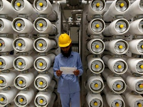 A worker in a Saudi desalination plant, south of Riyadh, May 4, 2011