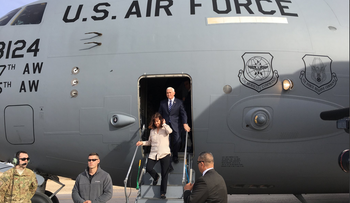 U.S. Vice President Mike Pence and his wife Karen visiting a U.S. military base near the Jordan-Syria border ahead of his arrival in Israel, January 21, 2018.