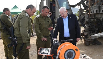 President Reuven Rivlin visiting the headquarters of the Gaza Division in IDF Southern Command, January 21, 2018.