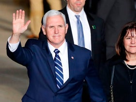 U.S. Vice President Mike Pence touches down in Tel Aviv's Ben-Gurion Airport on January 21, 2018.