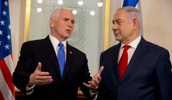 U.S. Vice President Mike Pence meets with Prime Minister Benjamin Netanyahu in Jerusalem on Monday, January 22 2018.
