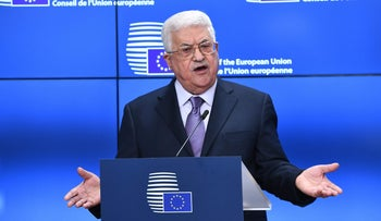 Palestinian President Mahmud Abbas speaks prior to attend a EU foreign affairs council at the European Council in Brussels, January 22, 2018.
