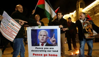 Palestinians take part in a protest against the visit of U.S. Vice President Mike Pence to Israel, in the West Bank city of Bethlehem January 21, 2018.