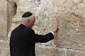 U.S. Vice President Mike Pence visits the Western Wall in Jerusalem, January 23, 2018.