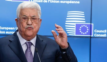 Mahmoud Abbas, Palestinian Authority president, gestures while speaking during a news conference on the sidelines of a Eurogroup meeting of European Union (EU) finance ministers in Brussels, Belgium, on Monday, Jan. 22, 2018.