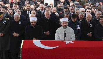 "Turkish President Recep Tayyip Erdogan at the funeral ceremony for Turkish soldier Musa Ozalkan, who was killed during ""Operation Olive Branch,"" on January 23, 2018 in Ankara"