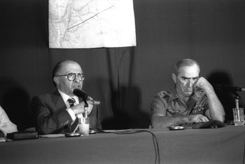 Menahem Begin and Refael Eitan in a press conference about the air raid on the iraqui nuclear reactor, 1981.