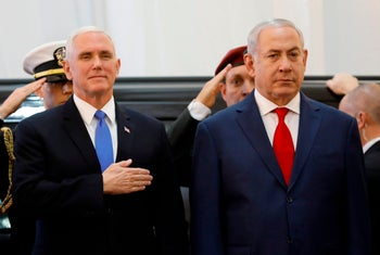 US Vice President Mike Pence (L) attends a welcome ceremony with Israeli Prime Minister Benjamin Netanyahu at the Prime Minister's Office in Jerusalem on January 22, 2018.
