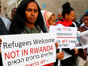 African migrants demonstrate against the Israeli government, outside the Rwanda embassy on January 22, 2018 in the Israeli city of Herzliya.