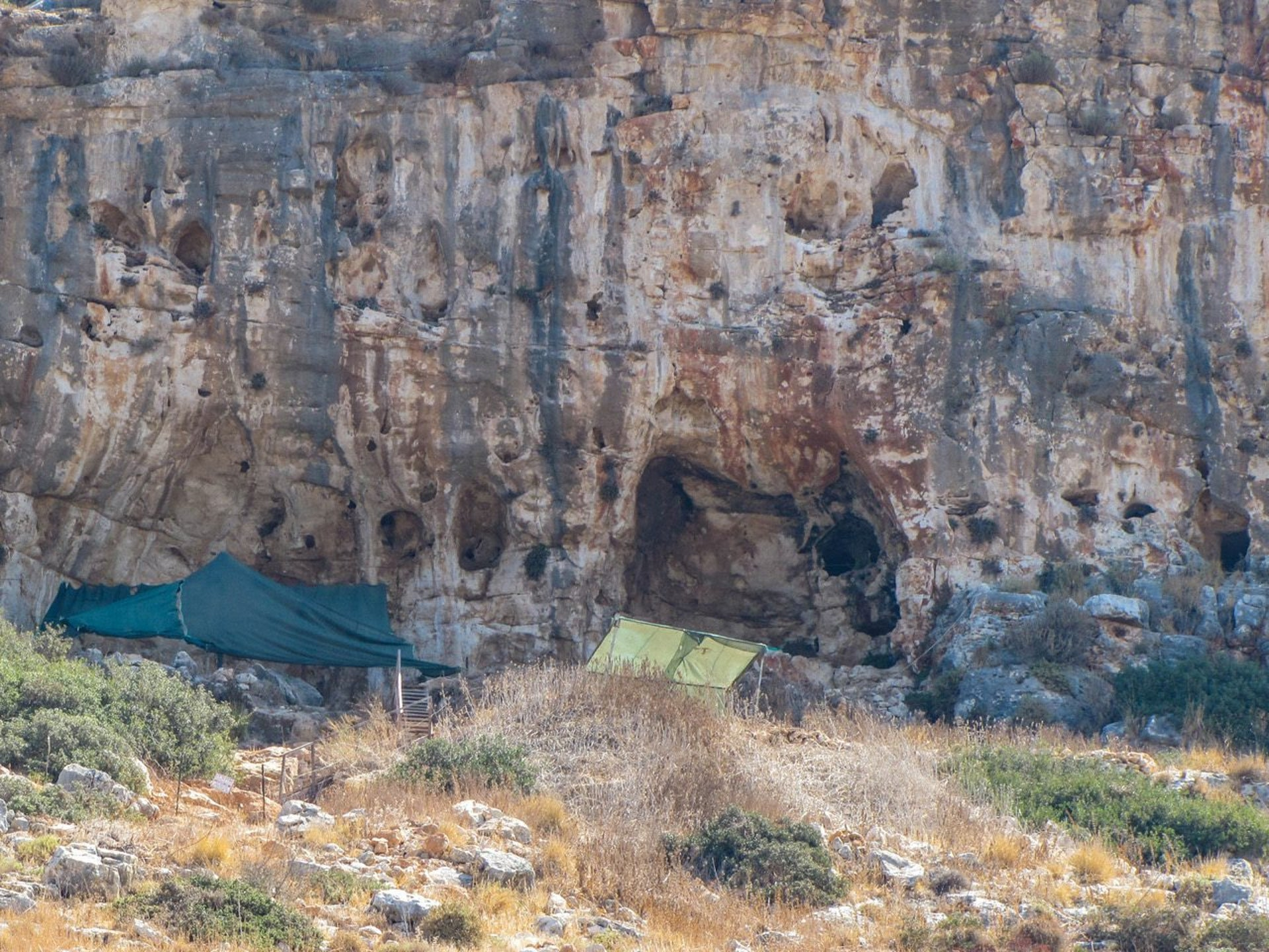 A view of Misliya cave, one of many prehistoric sites that dot the cliff of the Carmel mountain range, near the northern Israeli city of Haifa