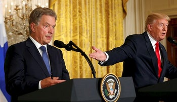 U.S. President Donald Trump holds a joint news conference with Finnish President Sauli Niinisto at the White House in Washington, U.S., August 28, 2017.