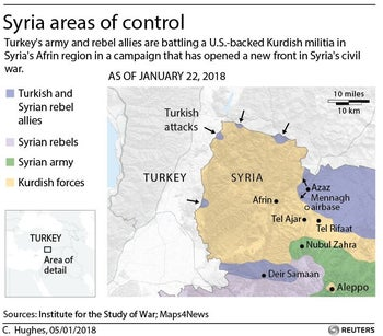 Map detail showing areas of Syria where Turkish forces have moved against Kurdish fighters